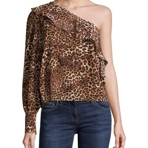 Tops - Ruffled One-Shoulder Leopard Blouse sz L